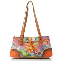 ANUSCHKA HAND-PAINTED LEATHER MULTI-POCKET SATCHEL