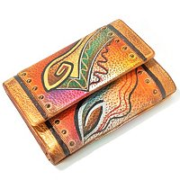 ANUSCHKA HAND-PAINTED LEATHER THREE FOLD LADIES WALLET