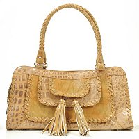 "MADI CLAIRE ""RIVERA"" LEATHER SATCHEL WITH WHIPSTITCH TRIM & FRINGE"