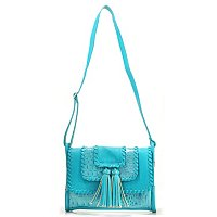 "MADI CLAIRE ""RIVERA"" CROCO EMBOSSED PATENT LEATHER CROSS BODY HANDBAG"