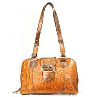 "MADI CLAIRE ""CARROLLTON"" CROCO EMBOSSED LEATHER DOME SATCHEL"