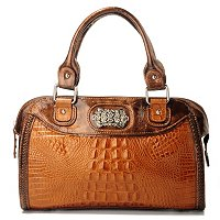 "MADI CLAIRE ""DEVON"" CROCO EMBOSSED LEATHER SATCHEL WITH ADJUSTABLE STRAP"