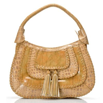 "705-937 - Madi Claire ""Rivera"" Whipstitch Trim Croco Embossed Leather Hobo Bag"