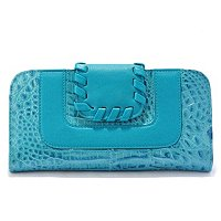 "MADI CLAIRE ""RIVERA"" CROCO EMBOSSED LEATHER WALLET WITH WHIPSTITCH TRIM"