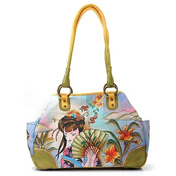 706-072 - Anuschka Hand-Painted Leather Medium Tote with Multi Compartments