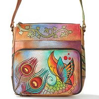 ANUSCHKA HAND-PAINTED LEATHER CROSSBODY SATCHEL