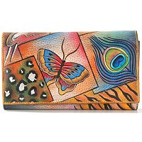 ANUSCHKA HAND-PAINTED LEATHER MULTI-POCKET WALLET/ CLUTCH