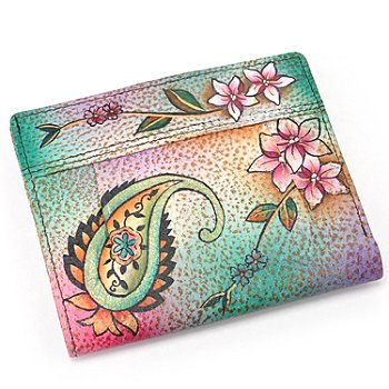 706-178 - Anuschka Hand-Painted Leather Small Ladies Wallet w/ Pleats Detail