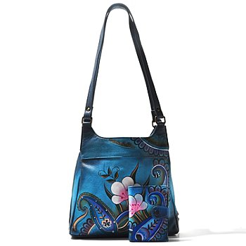 706-182 - Anuschka Hand Painted Leather Satchel w/ Matching Leather Wallet