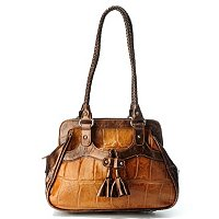 "MADI CLAIRE ""FRESNO"" CROCO EMBOSSED LEATHER JUMBO FRAMED SATCHEL"