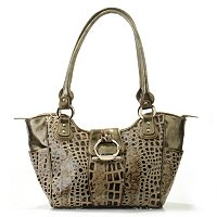 "MADI CLAIRE ""MADISON"" CROCO EMBOSSED LEATHER DOUBLE HANDLE SATCHEL"