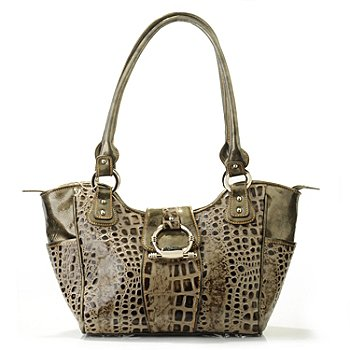 706-246 - Madi Claire Croco Embossed Leather ''Madison'' Double Handle Satchel