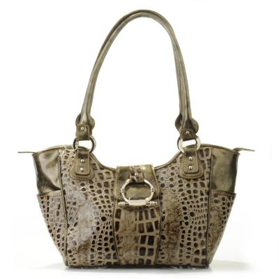 "706-246 - Madi Claire Croco Embossed Leather ""Madison"" Double Handle Satchel"