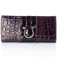 "MADI CLAIRE ""MADISON"" LIZARD EMBOSSED LEATHER WALLET WITH SILVER RING"