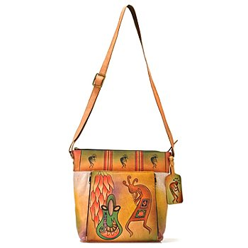 706-274 - Anuschka Hand Painted Leather Cross Body Handbag w/ Luggage Tag