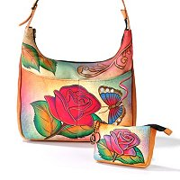 ANUSCHKA HAND-PAINTED LEATHER HOBO WITH TOP ZIP KEY/COIN PURSE