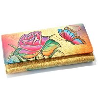 ANUSCHKA HAND-PAINTED LEATHER LADIES CREDIT CARD & CHECKBOOK CLUTCH WALLET
