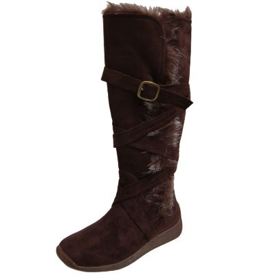 706-864 - Adi Designs Buckle Detail Faux Fur Trim Tall Boots