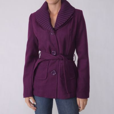 707-050 - Adi Designs Juniors Belted Knit Collar Coat