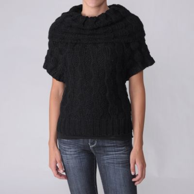 708-432 - Ci Sono by Adi  Juniors Short Sleeve Cowl Neck Sweater