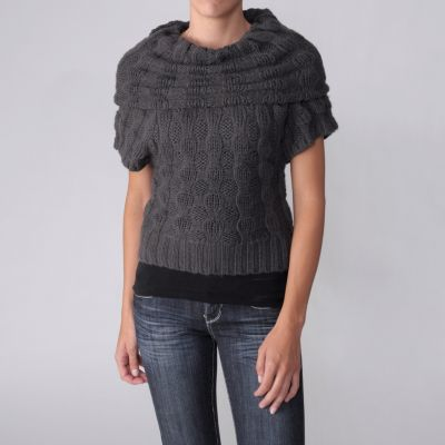 708-442 - Ci Sono by Adi  Juniors Short Sleeve Cowl Neck Sweater