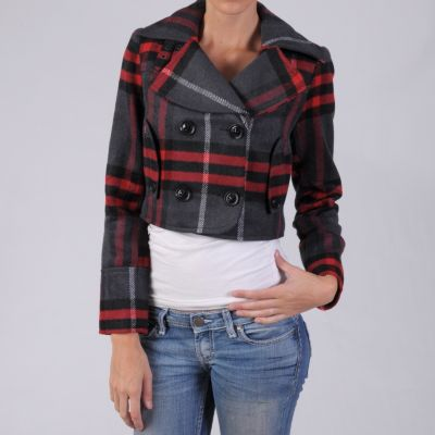 708-570 - Hailey Jeans Co Junior's Checkered Pattern Double-breasted Coat