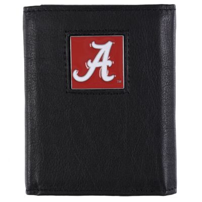 708-687 - NCAA® Men's Black Genuine Leather Tri-fold Wallet