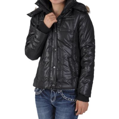 708-776 - Ci Sono by Adi Juniors Faux Fur Hooded Bubble Jacket