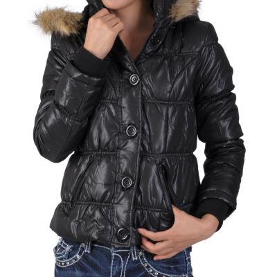 708-778 - Ci Sono by Adi Juniors Faux Fur Trim Bubble Jacket