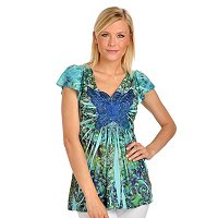 One World Stretch Knit Microjersey Top with Butterfly Applique
