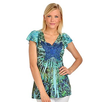 709-199 - One World Micro Jersey Knit Flutter Sleeve Butterfly Applique Top