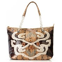 BAG CHIQUE SNAKE PRINT EMBOSSED TOTE WITH CHAINS AND STONES