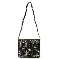 BAG CHIQUE SHOULDER BAG WITH FLAP ADORNED WITH BEADS AND STONES