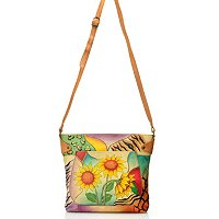 ANUSCHKA HAND PAINTED LEATHER MEDIUM CONVERTIBLE TOTE HANDBAG