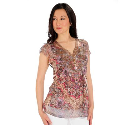 709-254 - One World Printed Knit Flutter Sleeved Applique & Sequin Detailed Top