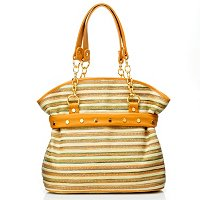Bodhi Multi Stripe Straw Chain Satchel