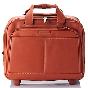 709-411 - Hartmann Expandable Handle Belting Leather Wheeled Mobile Traveler Bag