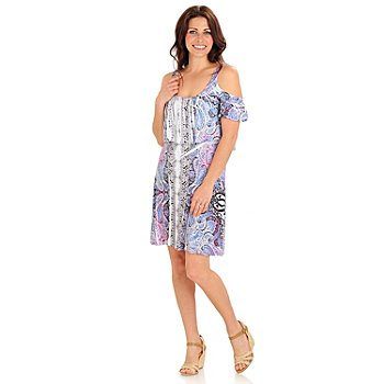 709-473 - One World Micro Jersey Cold Shoulder Tummy Control Flip Flop Dress