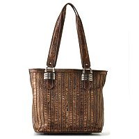 Madi Claire Sienna Croco Embossed Zip Top Tote