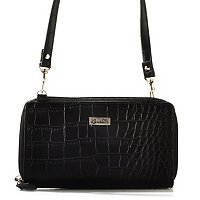 Buxton Croco Embossed Womens Double Zip Around Crossbody Organizer Wallet