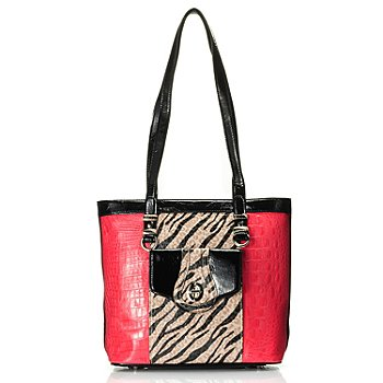 709-481 - Madi Claire ''Lyndi'' Crocodile Embossed Zebra Print Leather Tote Bag