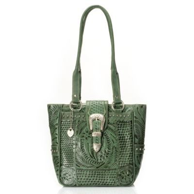 709-503 - American West Stud Detailed Zip Top Hand Tooled Leather Tote Bag