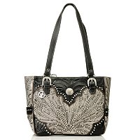 AMERICAN WEST ZIP TOP TOTE WITH SIDE POCKETS