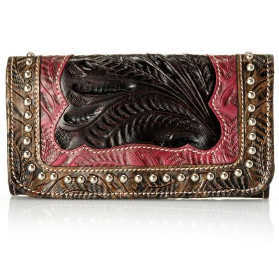 709-513 - American West Stud Detail Hand Tooled Leather Tri-Fold Wallet