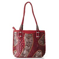 "Madi Claire ""Brianna"" Matte Leather With Snake Print Tote"