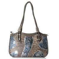 "Madi Claire ""Brianna"" Matte Leather With Snake Print Satchel"