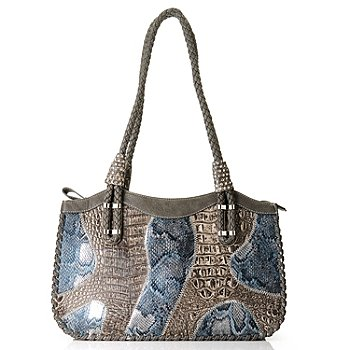 709-539 - Madi Claire Croco Embossed Leather & Snake Print ''Brianna'' Satchel