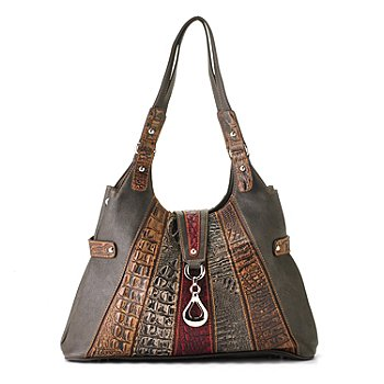 709-541 - Madi Claire ''Isabel'' Crocodile Embossed Striped Leather Hobo Bag