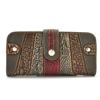709-544 - Madi Claire ''Isabel'' Crocodile Embossed Striped Leather Wallet