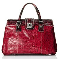 "Madi Claire ""Reba"" Croco Embossed Leather Satchel With Turn Lock"
